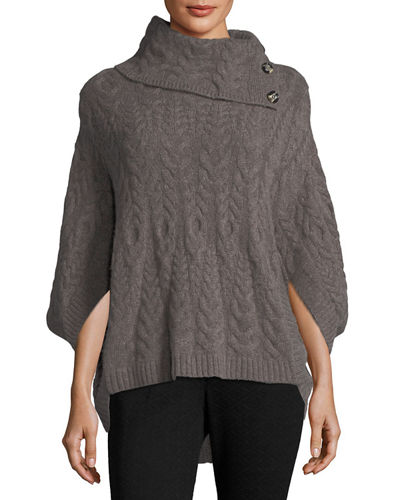 Cashmere Cowl-Neck Cable-Knit Poncho