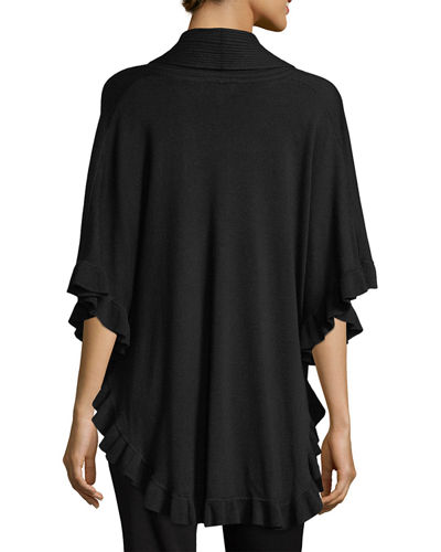 Rib-Knit Shawl-Collar Poncho