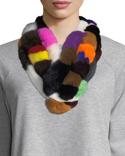 Fur Pompom Pull-Through Scarf