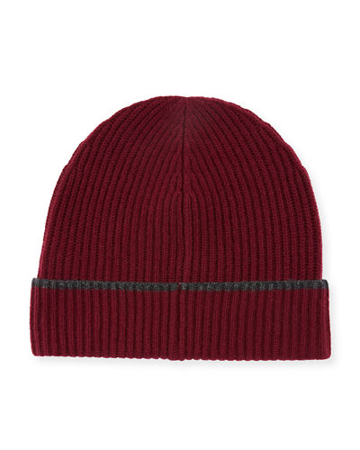 Cashmere Tipped Ribbed Knit Beanie