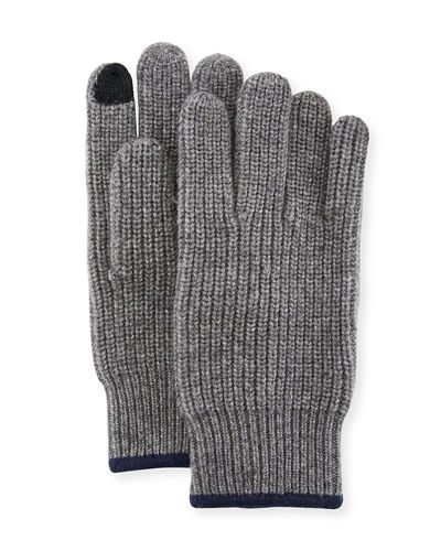 Neiman Marcus Ribbed Knit Gloves with Touch Tech