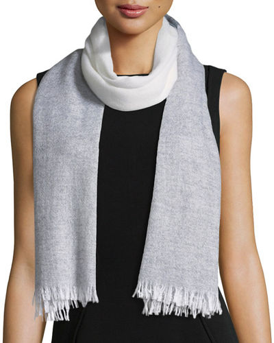 Cashmere Striped Fringe Scarf