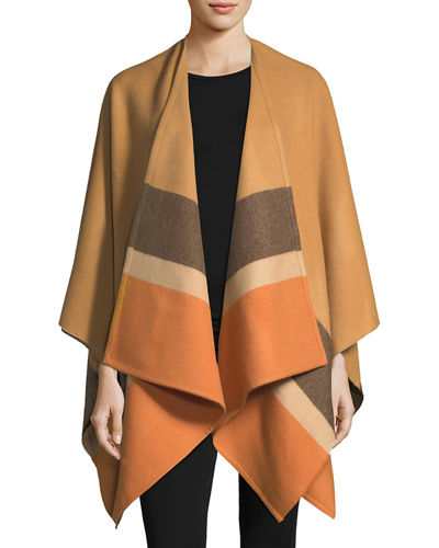 Merino Wool Ruana Striped Blanket Cape