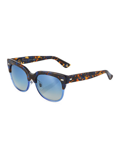 Square Two-Tone Havana Plastic Sunglasses