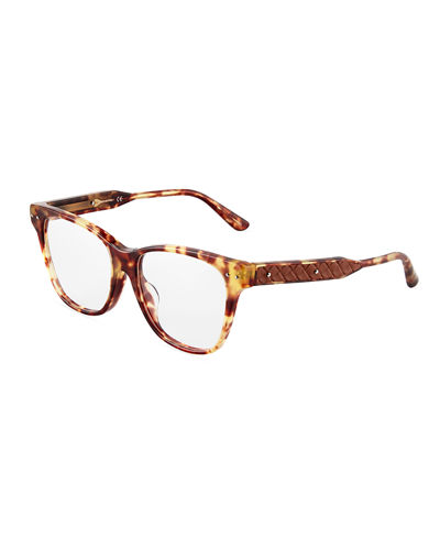 Bottega Veneta Plastic Square Optical Glasses