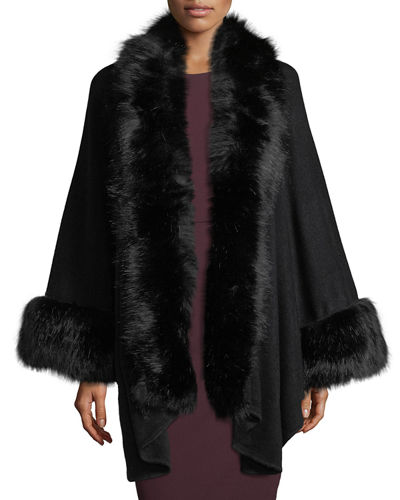 Faux-Fur Trimmed Knit Cape