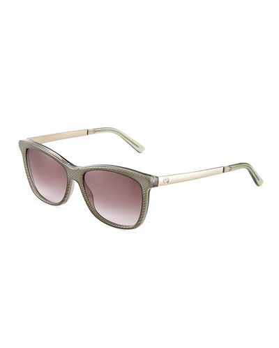 Rectangular Acetate/Metal Sunglasses