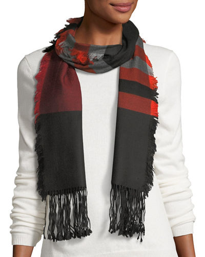 Wool Striped Fringe Scarf