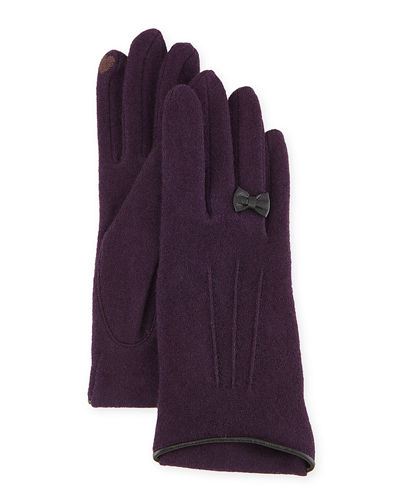 Cashmere-Blend Gloves w/ Leather Bow