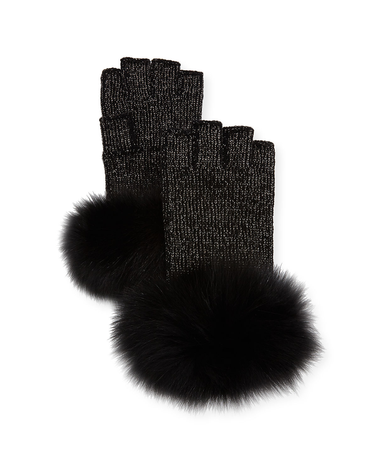 Lurex® Knit Fingerless Gloves w/ Fur Cuffs