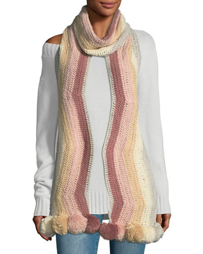 Crochet Striped Pompom Trim Muffler