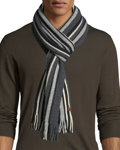 Vertical-Stripe Knit Scarf