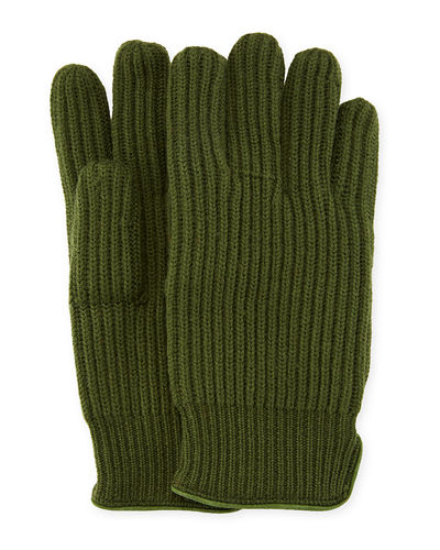 Men's 11 Suede-Piped Knit Wool Gloves