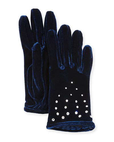 Velvet Gloves with Crystals