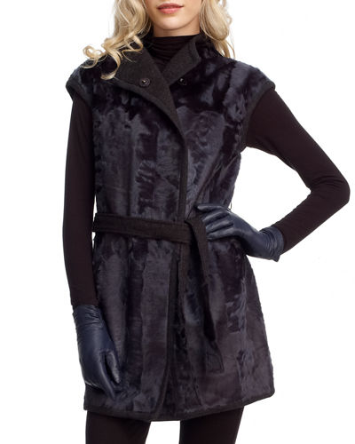 Reversible Goat Fur and Cashmere Wrap Vest