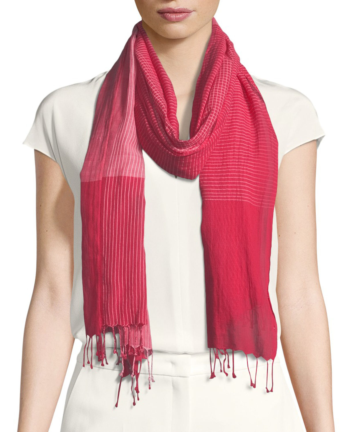 Hand-Loomed Organic Cotton Plaid Scarf