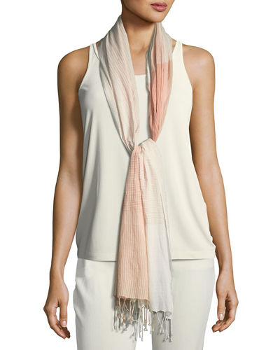 Eileen Fisher Hand-Loomed Organic Cotton Plaid Scarf