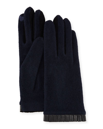 Cashmere-Blend Leather-Cuffed Tech Gloves