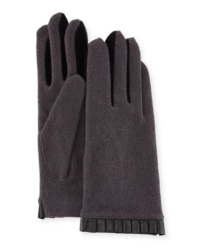 Portolano Cashmere-Blend Leather-Cuffed Tech Gloves