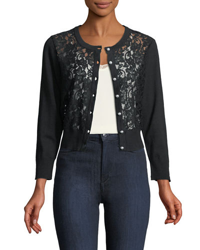 Lace-Front Cardigan