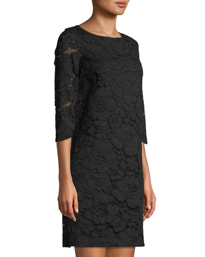 3/4 Sleeve Lace Shift Dress