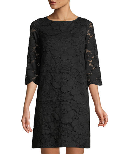 Karl Lagerfeld Paris 3/4 Sleeve Lace Shift Dress