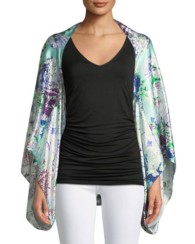 Casual Express Apparel Co Hammered Silk Bell-Sleeve Kimono