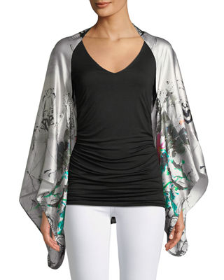 Hammered Silk Bell-Sleeve Kimono, Pink