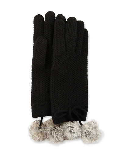 Knit Gloves with Rabbit Fur Pompom