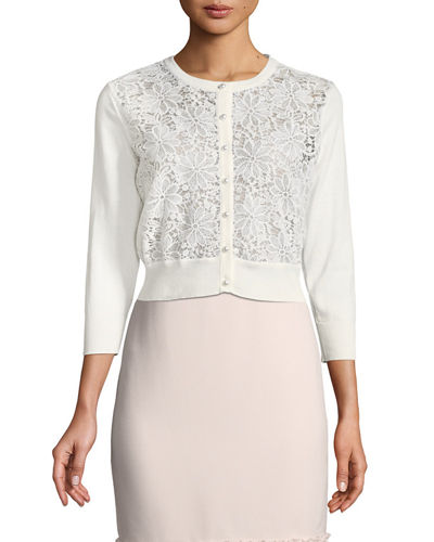 Embroidered Lace-Front Shrug Cardigan