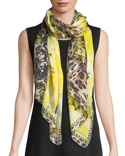 Animal & Splatter Paint Silk Scarf