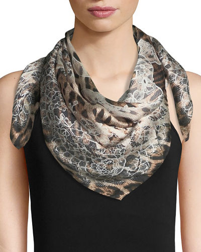 Foulard Animal & Floral Silk Scarf
