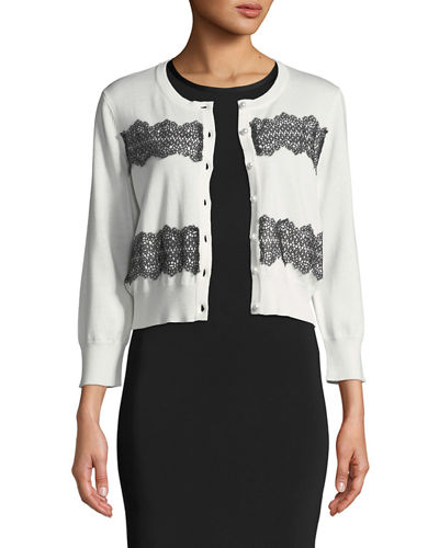 Karl Lagerfeld Paris Lace-Trimmed Shrug Cardigan