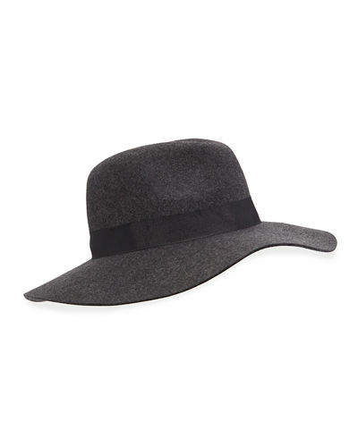 Ribbon-Trim Large Brim Wool Fedora