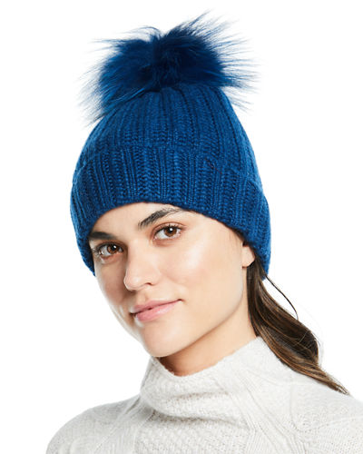 Cashmere Ladder-Stitch Fox Fur Beanie