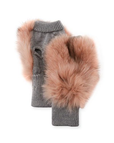 Fox Fur Wool-Blend Mittens