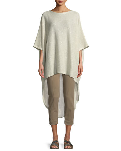 Shimmer-Knit Oversized High-Low Poncho