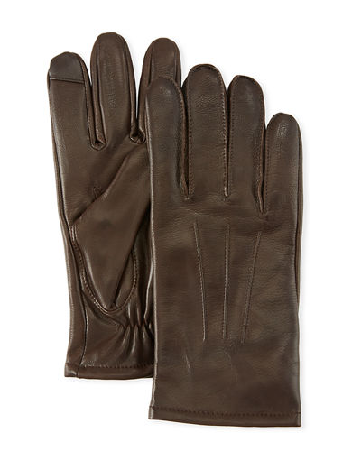 Three-Point-Stitch Leather Tech Gloves