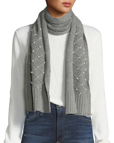 Diamond-Knit Pearly Scarf