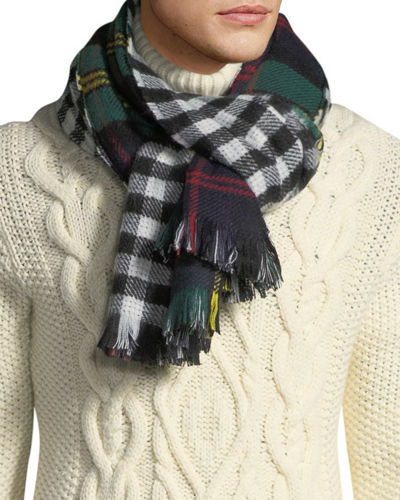 Men's Plaid and Check Double-Sided Blanket Scarf