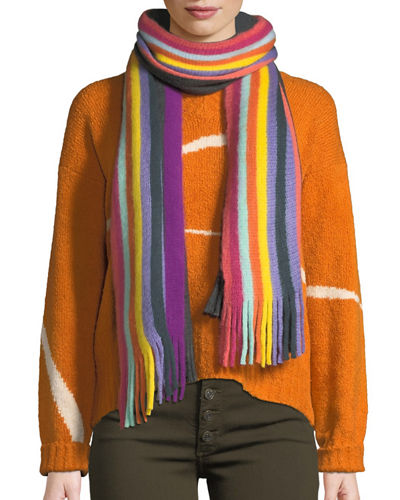 Multicolor Striped Fringe Scarf