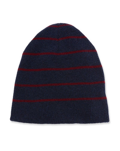 Men's Cashmere Reversible Stripped/Solid Beanie Hat