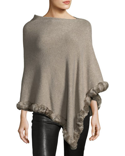 Rabbit Fur-Trimmed Poncho