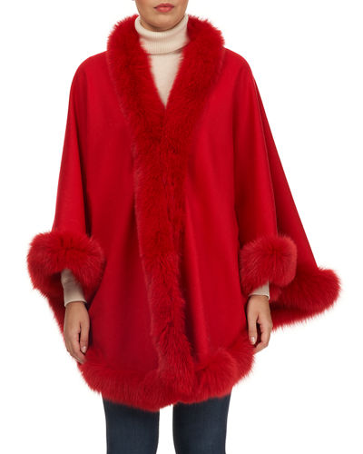 Wool Caplet with Fox Fur Trim