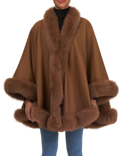 Wool Cape with Fox Fur Trim