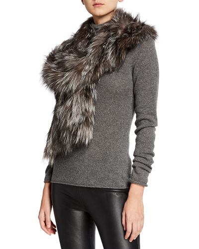 Fox Fur Ruffle Pocket Stole, Navy