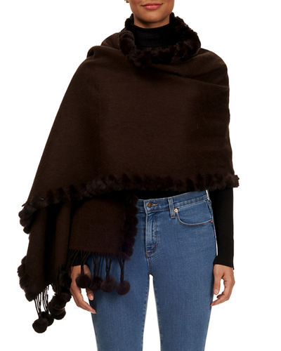 Rabbit Fur  Pompom Wool Cashmere Stole