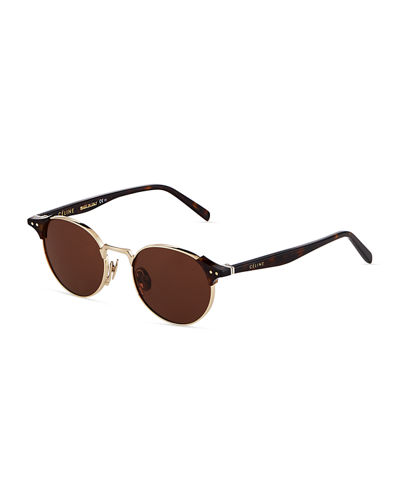Round Metal/Acetate Sunglasses