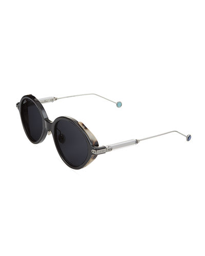 Round Round Acetate & Metal Sunglasses