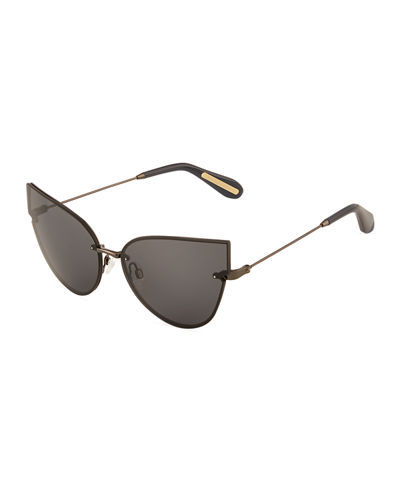 Vixen Rimless Metal Cat-Eye Sunglasses